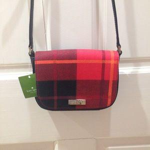 HP🎉 NWT Kate Spade Red Black Plaid Crossbody Bag